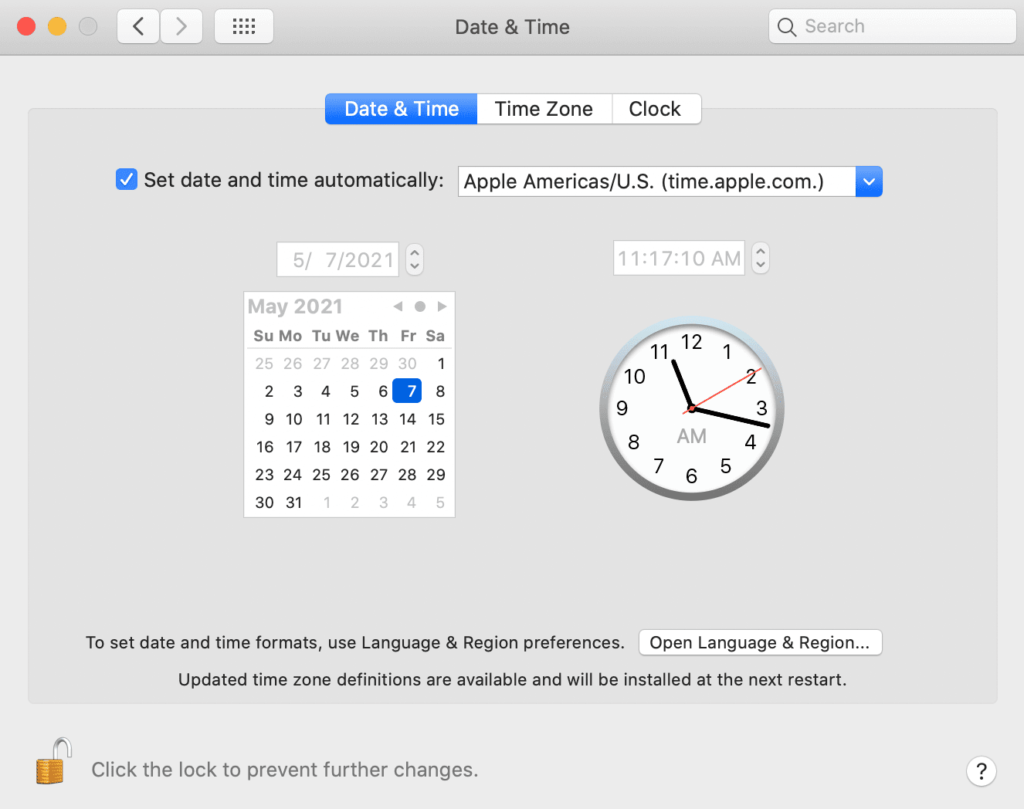 mac date and time settings tab