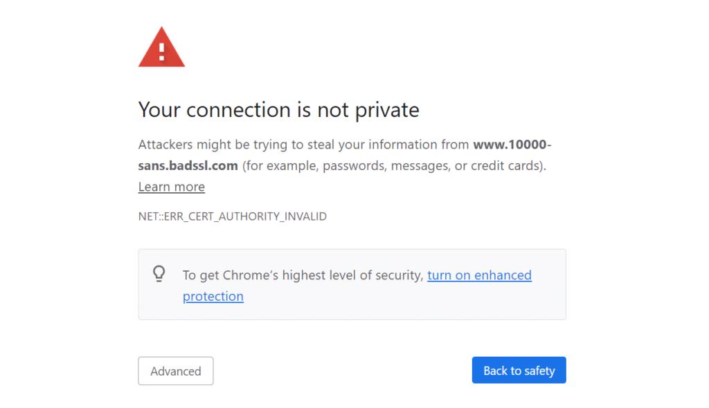 SSL Certificate Invalid in Chrome
