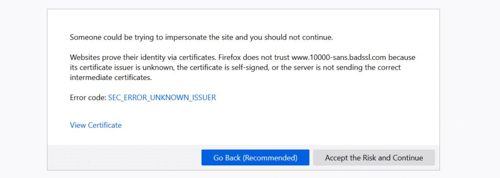 SSL connection error in Firefox