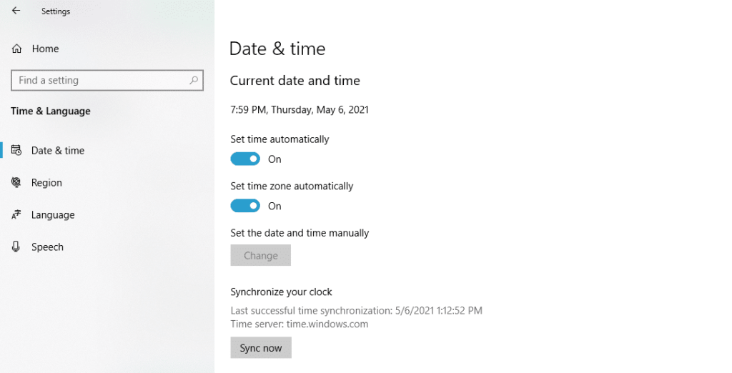 Sync time in windows